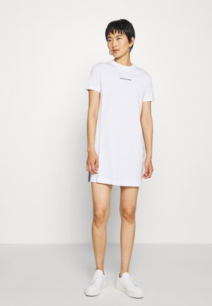 DRESS WITH TAPE - Shift dress - bright white