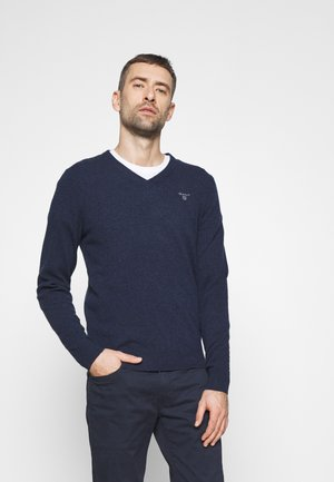 EXTRAFINE VNECK - Jumper - dark navy melange