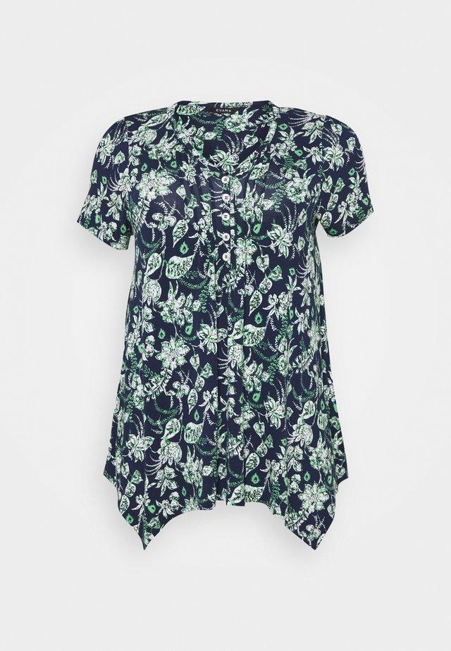 AZTEC PINTUCK TOP - T-shirt con stampa - navy
