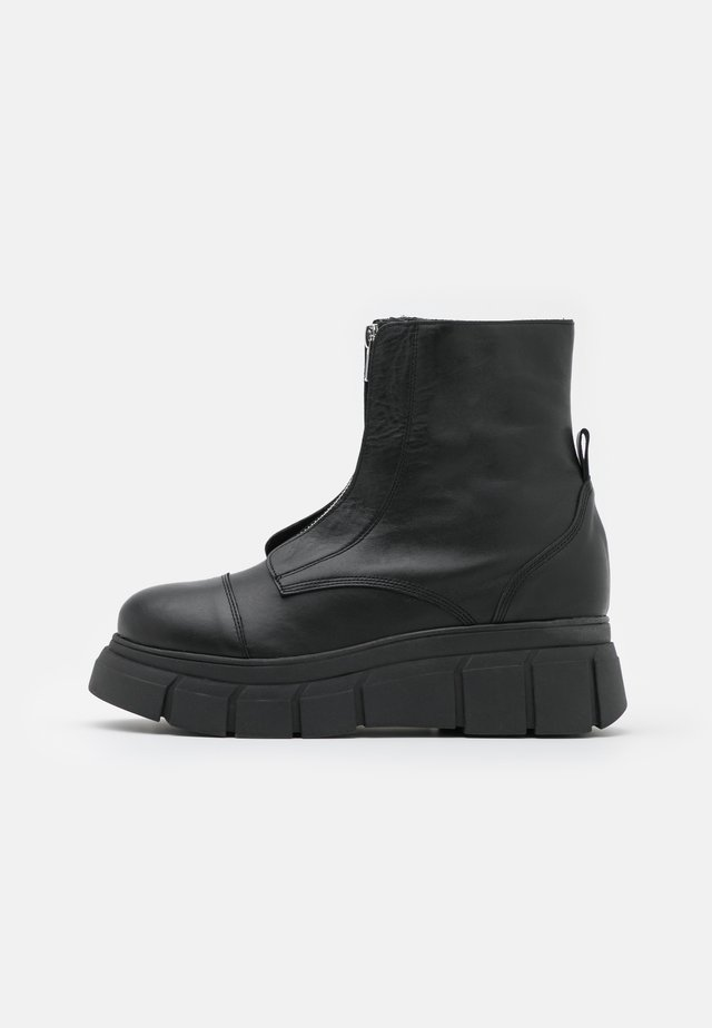 BOOT ZIP - Botki na platformie - black
