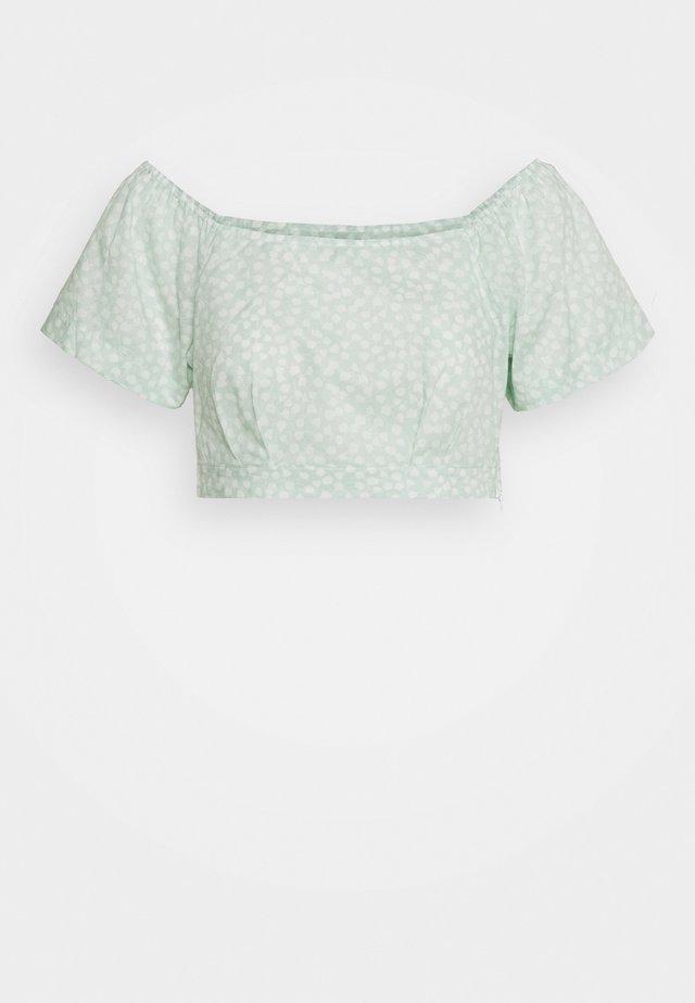 SQUARE NECK BLOUSE - Bluzka - green print