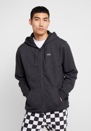 MN BASIC ZIP HOODIE - Huvtröja med dragkedja - black heather