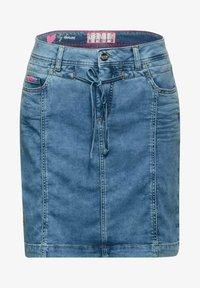 Street One - Pencil skirt - knitted indigo random bleach - 3