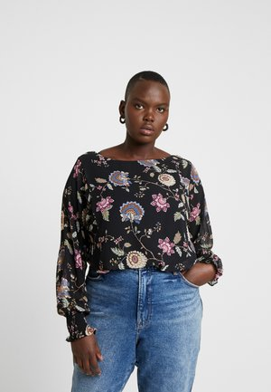 BATWING FLORAL OVERLAY - Blouse - rich black