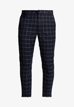 GRID CHECK CROP - Pantaloni - navy