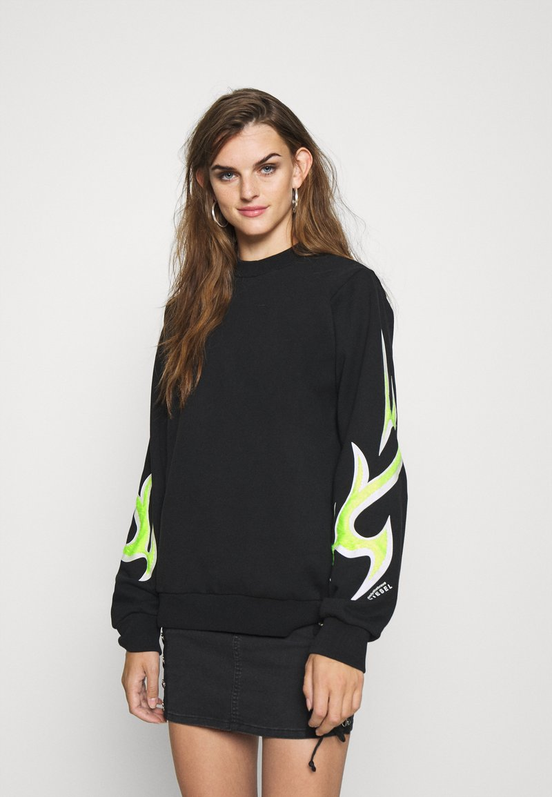 Diesel - F-ANG-E1-SHIRT - Sweatshirt - black/lemon