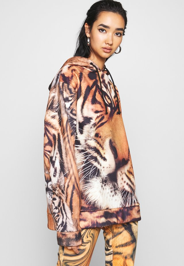 OVERSIZED HOODIE TIGER FACE  - Sweat à capuche - brown