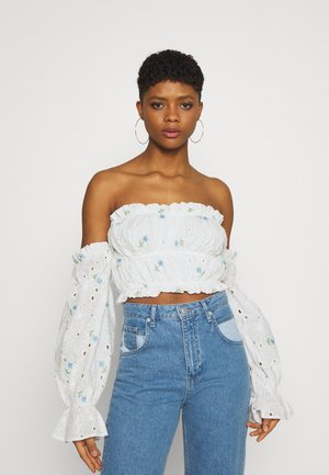 BARDOT CROP - Long sleeved top - white