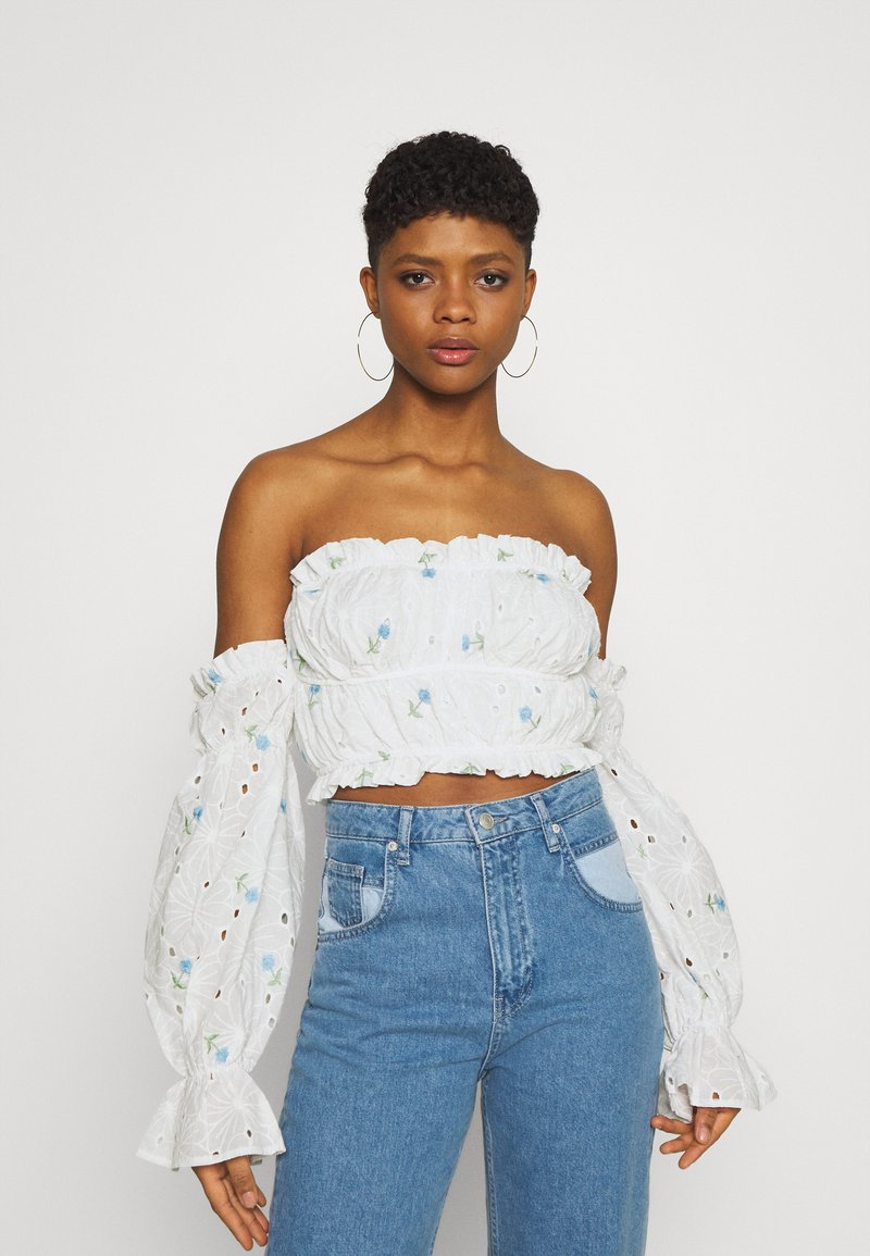 Missguided - BARDOT CROP - Long sleeved top - white