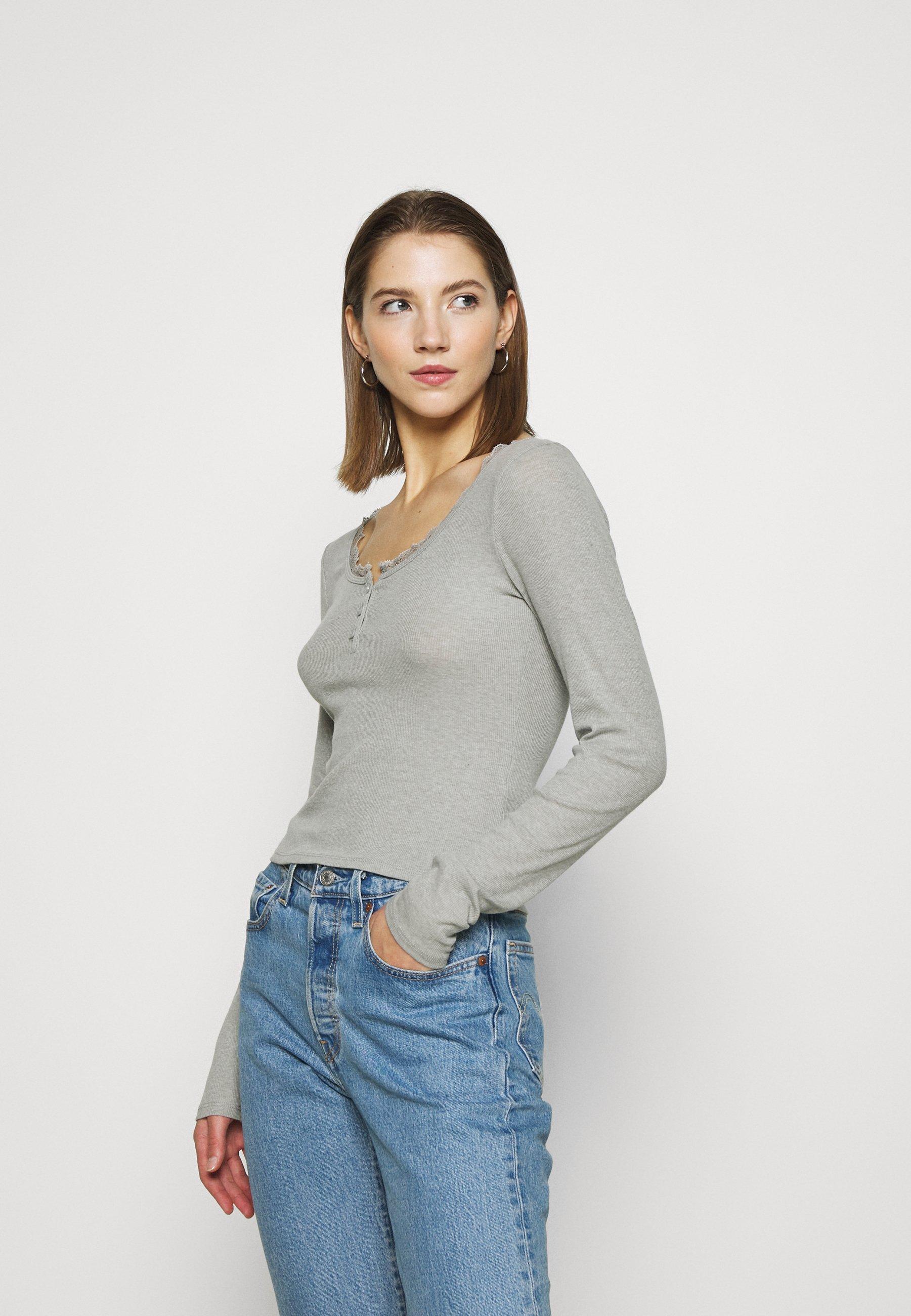 Women BUTTON THRU HENLEY - Long sleeved top