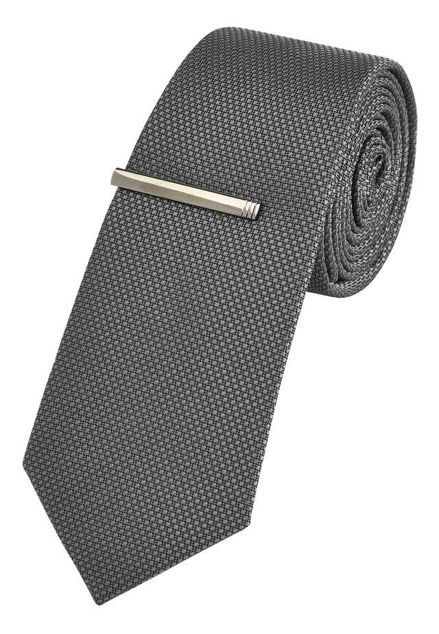 TEXTURED WITH CLIP - Tie - grey