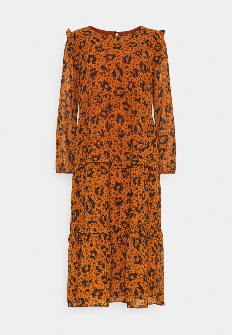 TOM TAILOR DENIM - PRINTED DRESS WITH RUFFLES - Day dress - brown