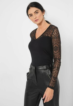 MIT SPITZE - Long sleeved top - schwarz