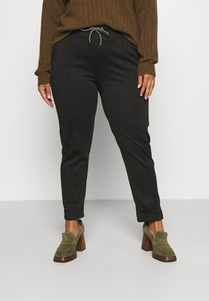 PONTE JOGGER WITH CONTRAST TIE WAIST - Trousers - black
