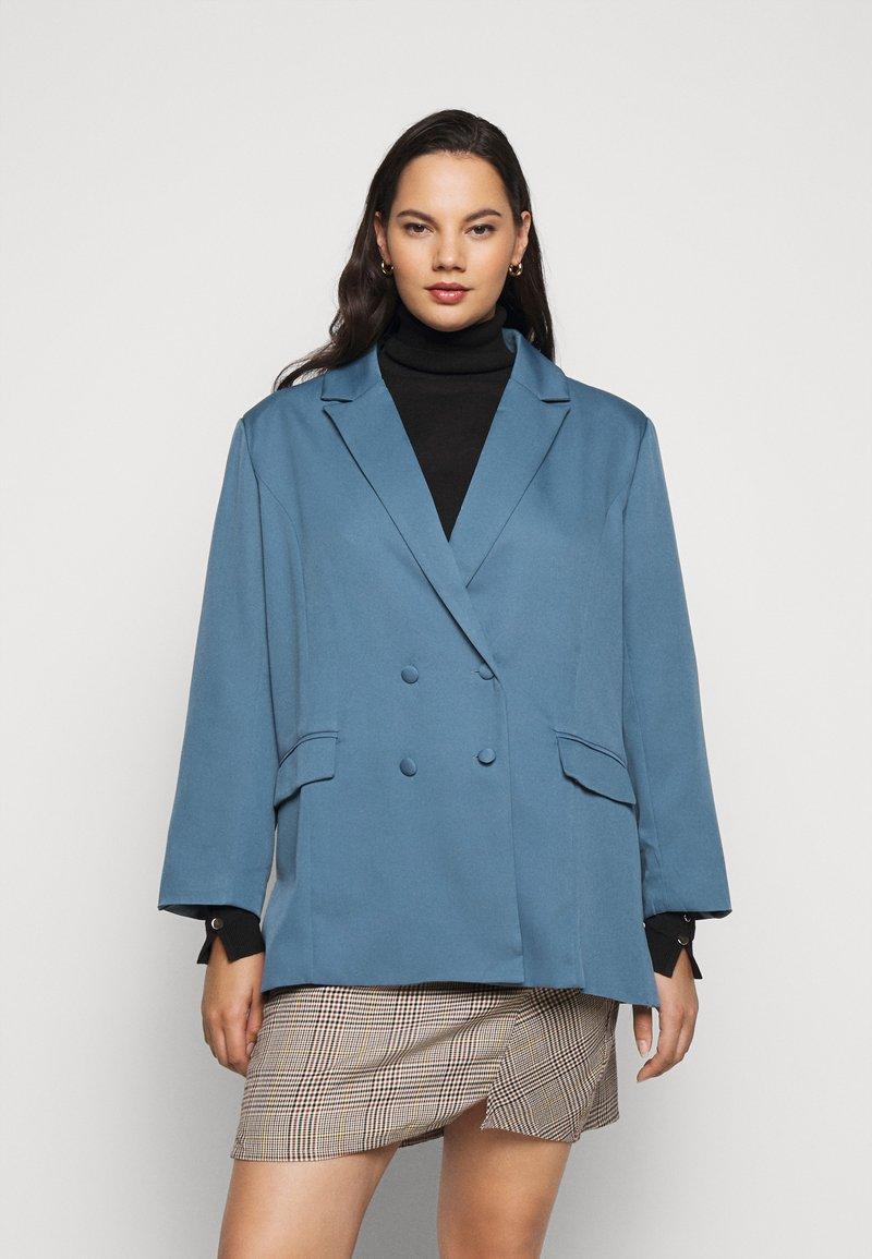 Missguided Plus - GRANDAD SIDE SPLIT  - Short coat - blue