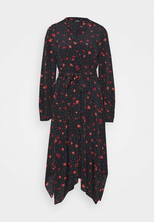 DOTTY FLORAL DRESS - Day dress - black