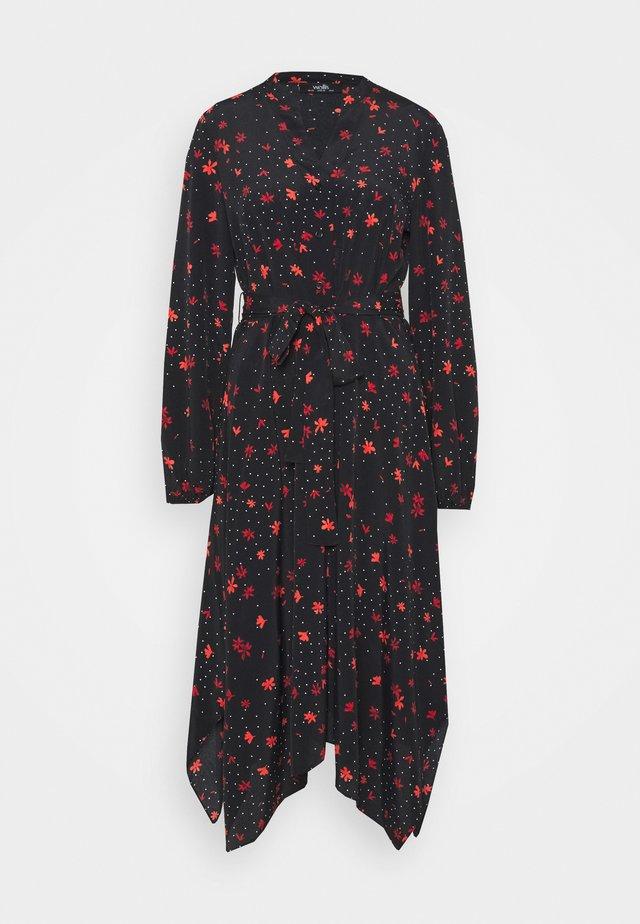 DOTTY FLORAL DRESS - Korte jurk - black