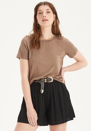 BUTTON TOP - Jednoduché triko - brown