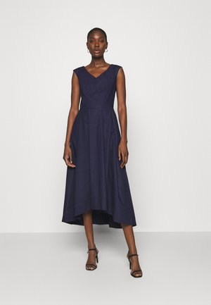 HIGH LOW PLEATED DRESS - Sukienka koktajlowa - navy