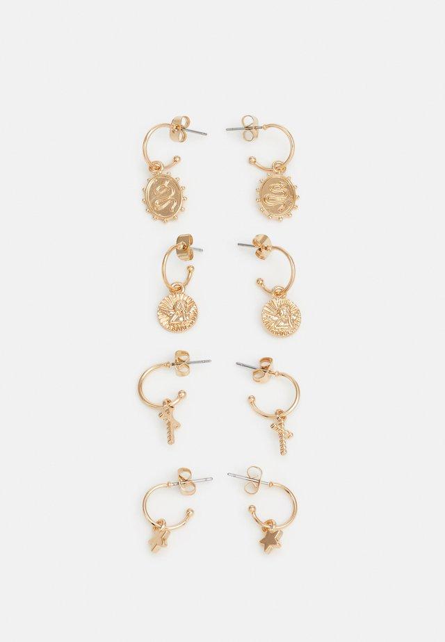 PCLYLA HOOP EARRINGS 4 PACK - Oorbellen - gold-coloured