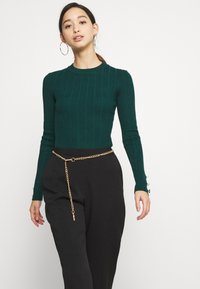 Missguided - BUTTON CUFF CREW NECK BODY - Pullover - forest green - 3