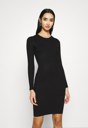 Knitted jumper mini high neck dress - Pouzdrové šaty - black
