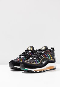 Nike Sportswear - AIR MAX 98 PRM - Trainers - black/flash crimson/kinetic green/psychic purple/universe gold/white - 4