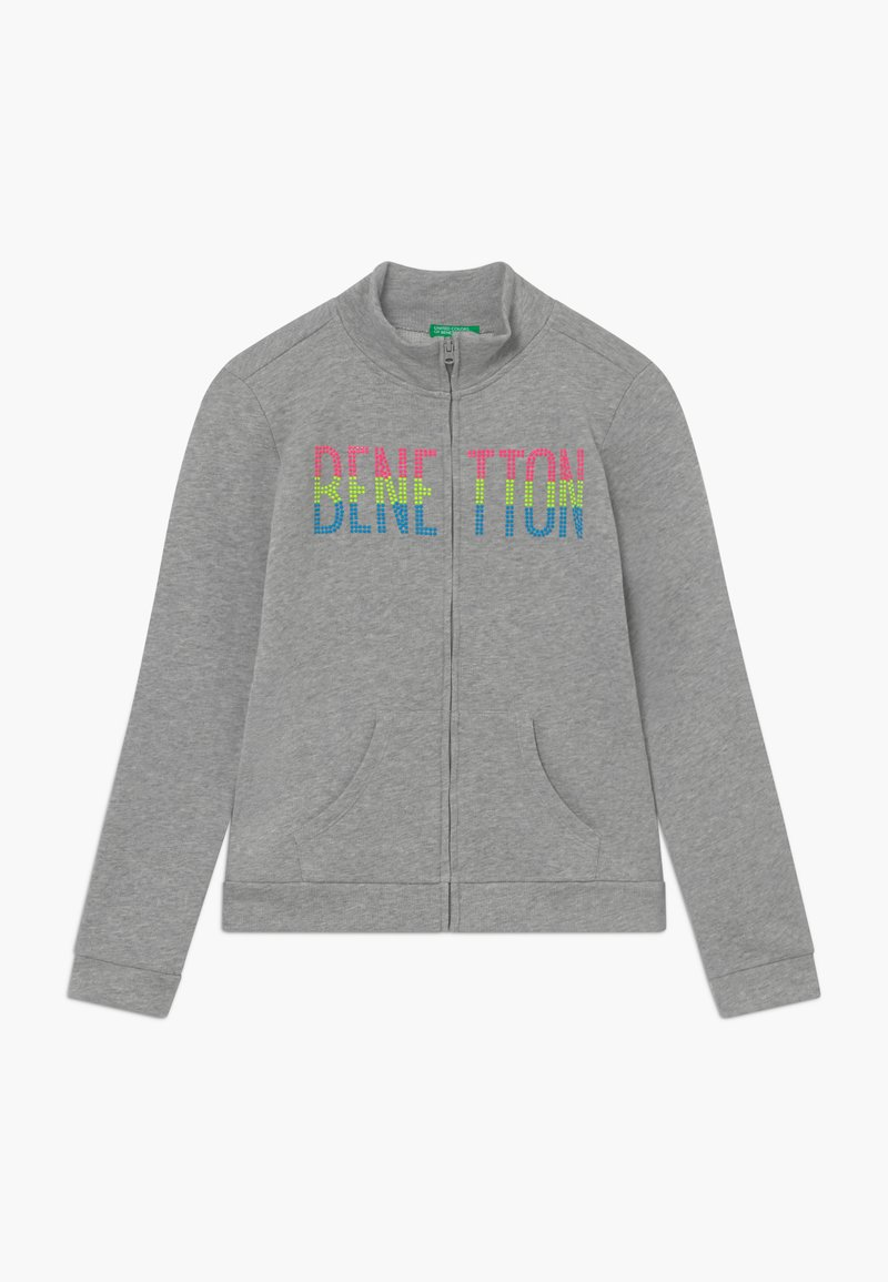 Benetton - Mikina na zip - grey