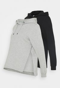 Anna Field MAMA - OVERSIZED HOODIE WITH POCKETS AND NURSING SIDE SLITS 2 PACK - Sweatshirt - black/light grey - 0
