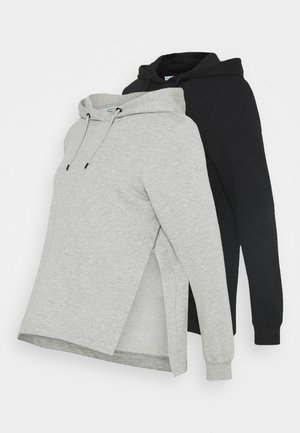 OVERSIZED HOODIE WITH POCKETS AND NURSING SIDE SLITS 2 PACK - Sweatshirt - black/light grey