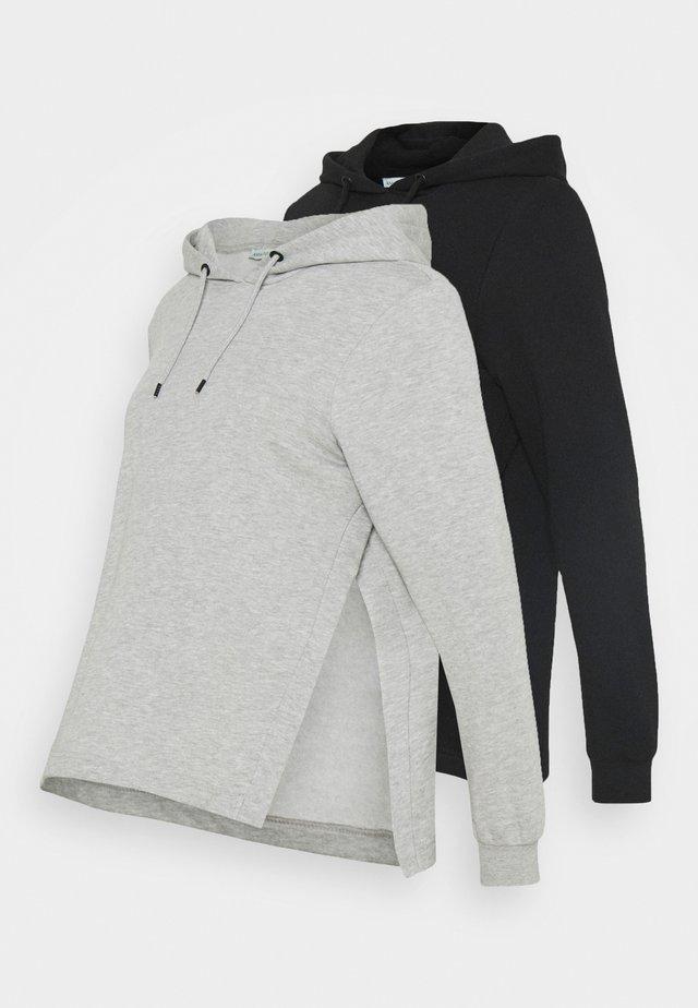 OVERSIZED HOODIE WITH POCKETS AND NURSING SIDE SLITS 2 PACK - Sweatshirt - black/light grey