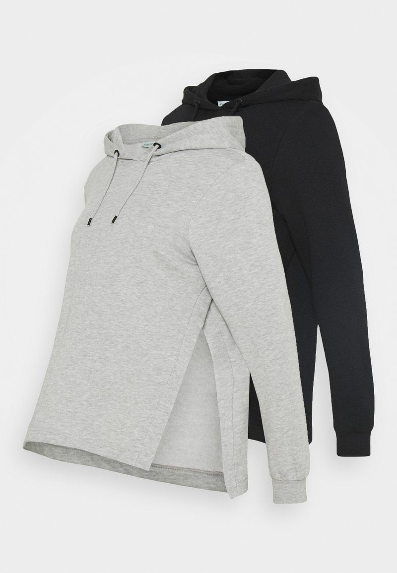 Anna Field MAMA - OVERSIZED HOODIE WITH POCKETS AND NURSING SIDE SLITS 2 PACK - Sweatshirt - black/light grey