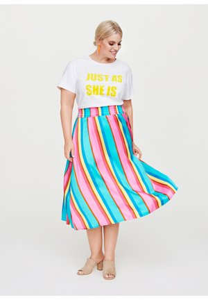 SATINROCK IN MIDILÄNGE - A-line skirt - turquoise