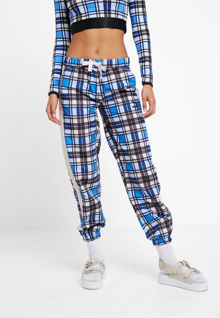 Puma - CHECK WIDE LEG PANTS - Trousers - strong blue