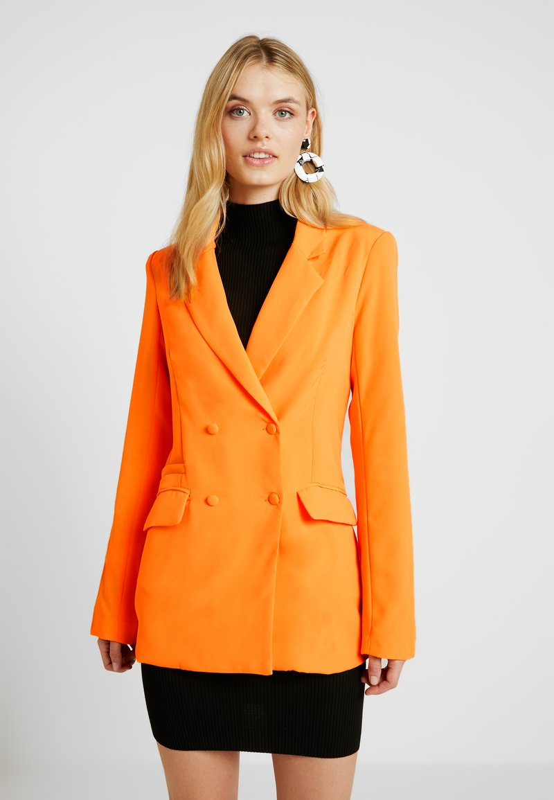 Missguided Tall - BUTTON DETAIL DOUBLE BREASTED - Sportovní sako - orange