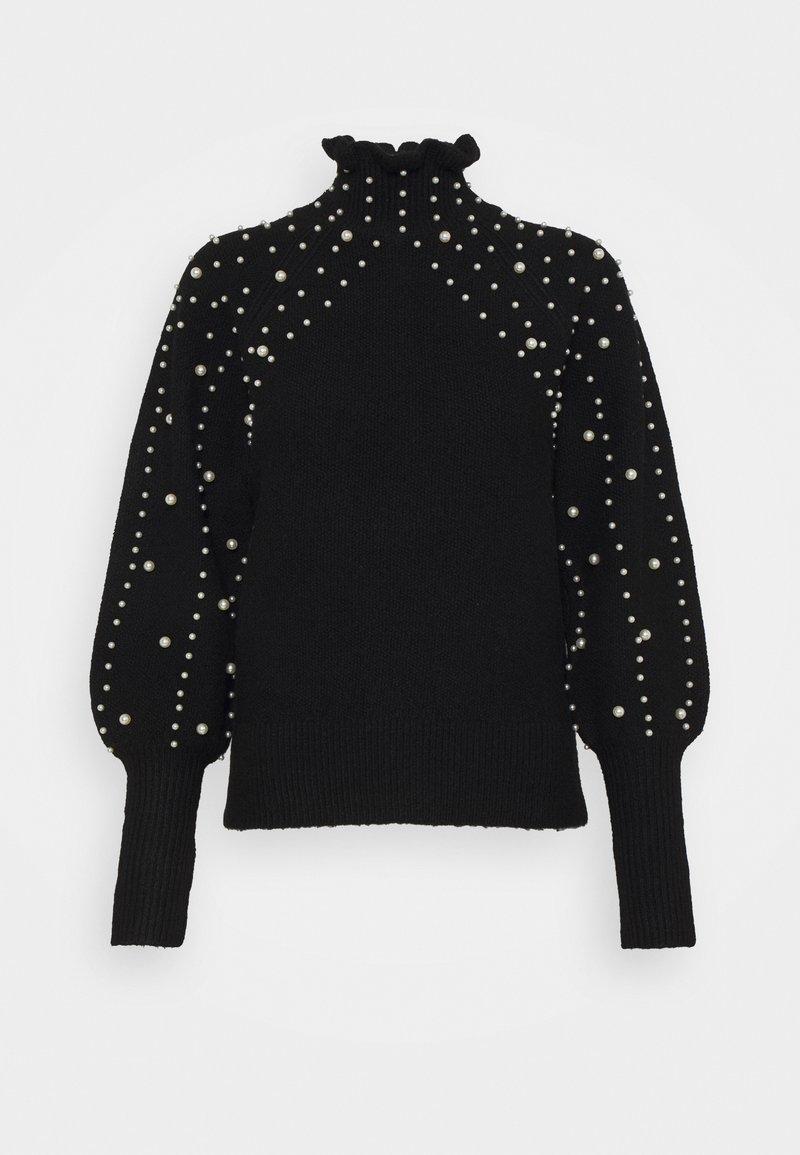 Miss Selfridge - PEARL PIE CRUST JUMPER - Stickad tröja - black