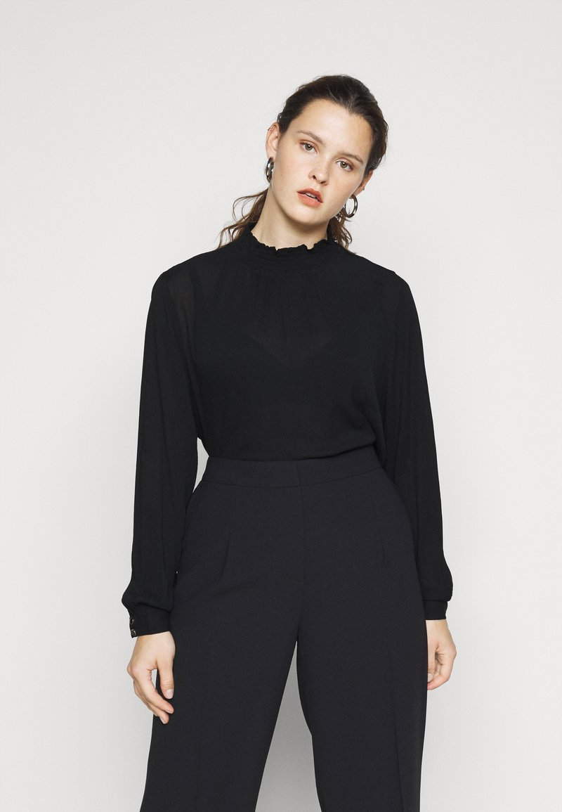 Kaffe Curve - KCTRUDI BLOUSE - Long sleeved top - black deep
