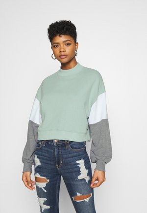 COLOR BLOCK CREW  - Mikina - blue/green