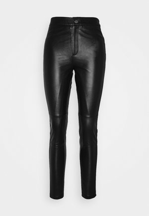 OBJMASE PANT - Leather trousers - black