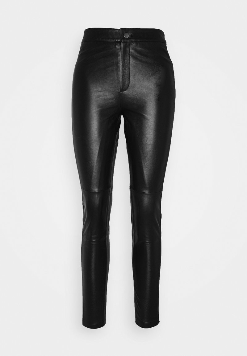 Object - OBJMASE PANT - Leather trousers - black