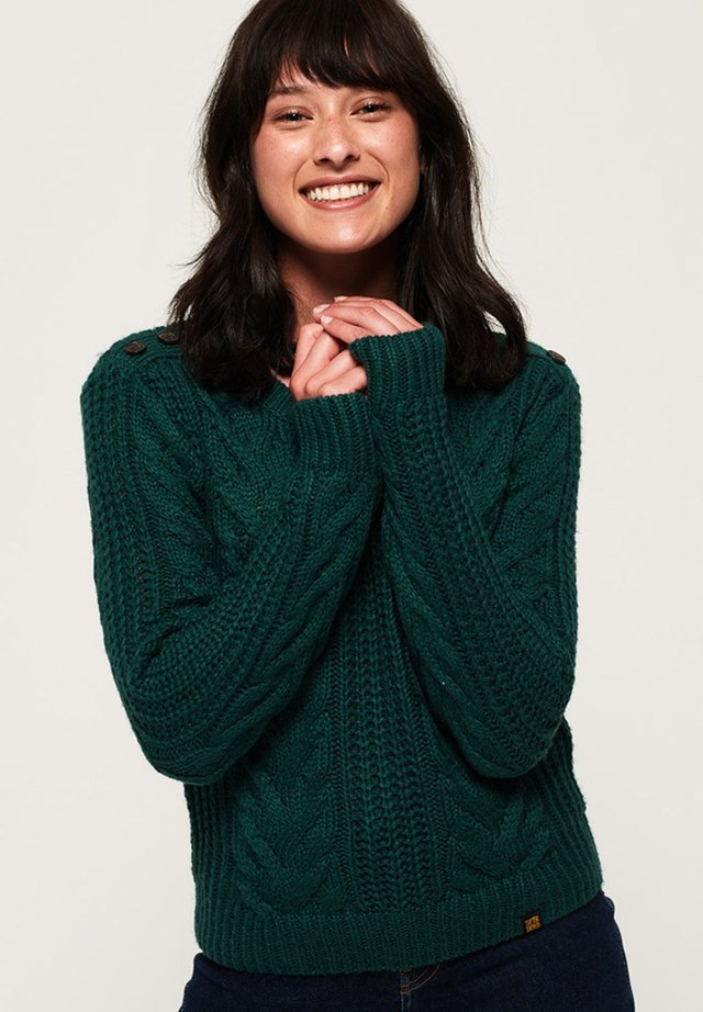 SUPERDRY JENNA CABLE JUMPER - Sweter - forest green