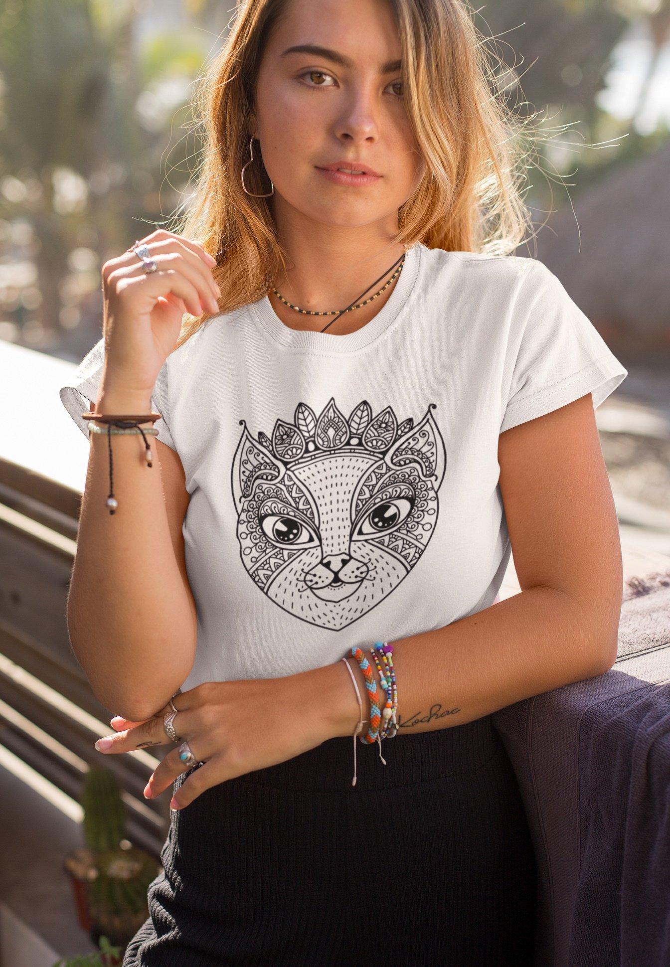 Damen MANDALA CAT - T-Shirt print