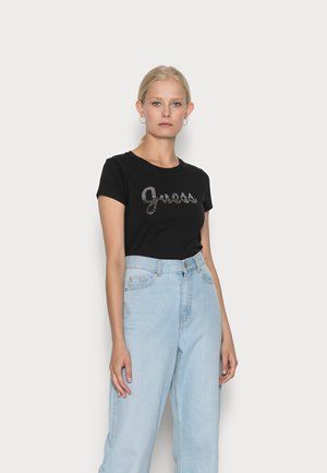 SPLIT SCRIPT LOGO - T-shirt print - jet black