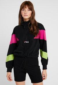Fila - RAFIYA HALF ZIP - Bluza z polaru - black/pink yarrow/acid lime - 0