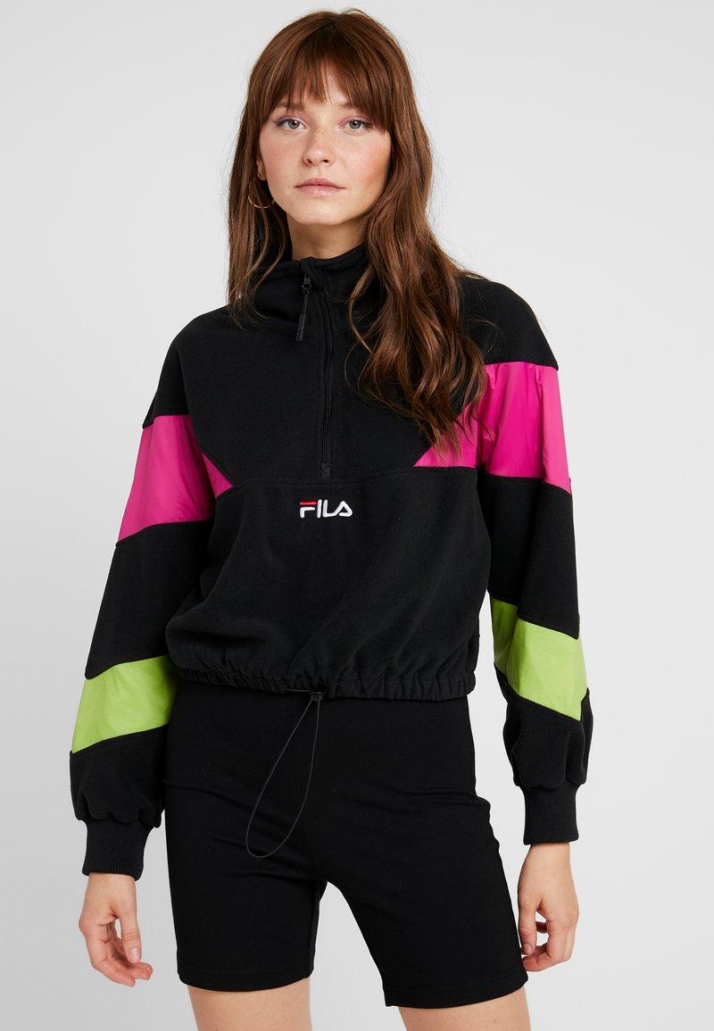 Fila - RAFIYA HALF ZIP - Bluza z polaru - black/pink yarrow/acid lime