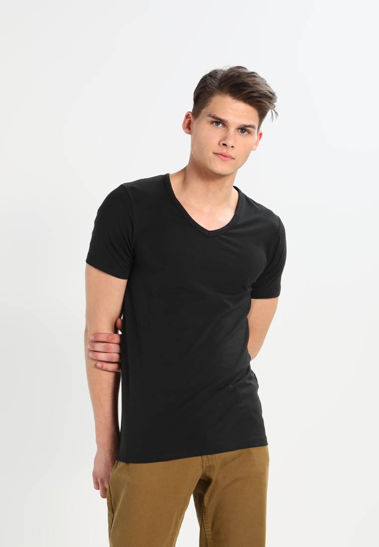 Jack & Jones - BASIC V-NECK  - T-shirt - bas - black