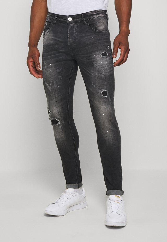 LIMER CARROT - Vaqueros slim fit - grey/black