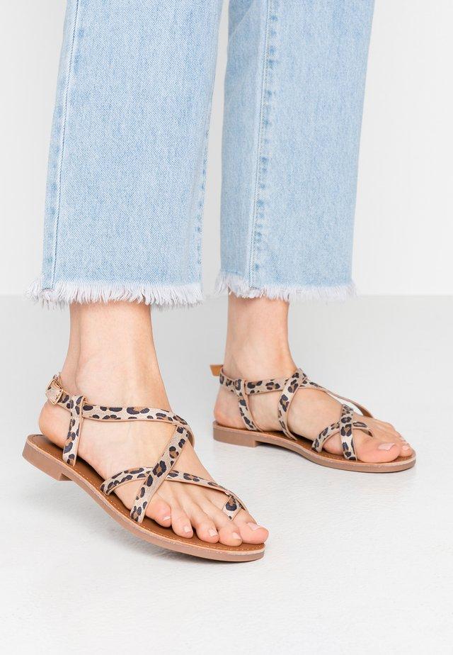ONLMANDALA CROSSOVER  - T-bar sandals - beige