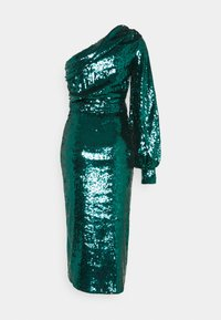 Missguided - PARTY SEQUIN TIE FRONT BALLOON SLEEVE DRESS - Cocktail dress / Party dress - teal - 1