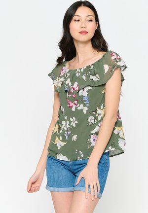 WITH OPEN SHOULDERS AND FLOWERS - Blouse - khaki